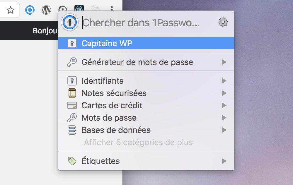Capture d'écran de 1Password