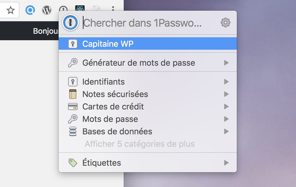 Capture d'écran de 1Password