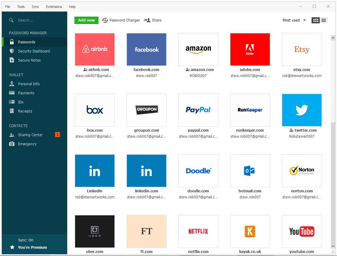 Capture d'écran du logiciel Dashlane