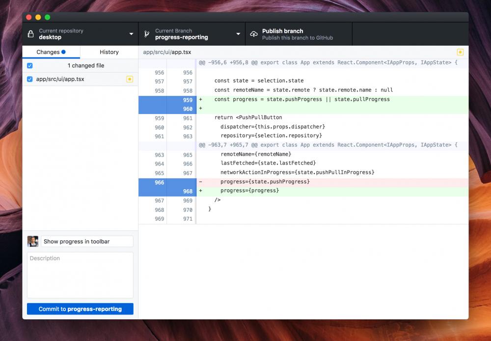 Capture d'écran de l'application Mac de GitHub