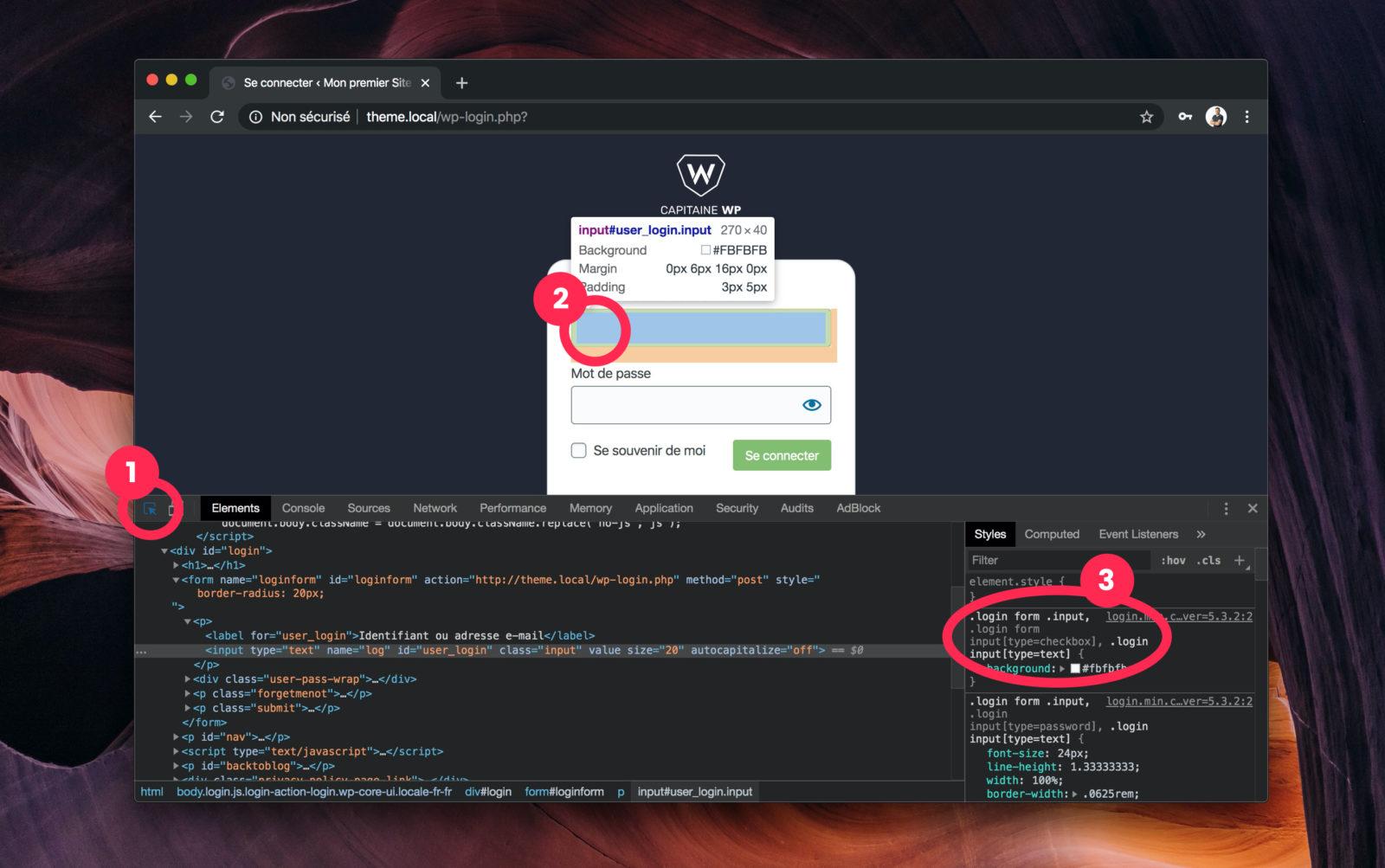 L'inspecteur du navigateur permet de voir les sélecteurs CSS utilisés nativement par WordPress