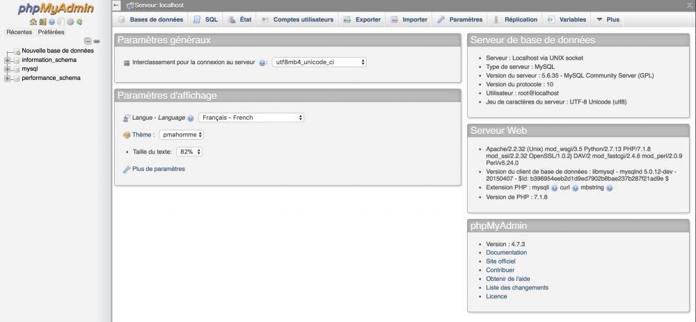 Capture d'écran de PHPMyAdmin
