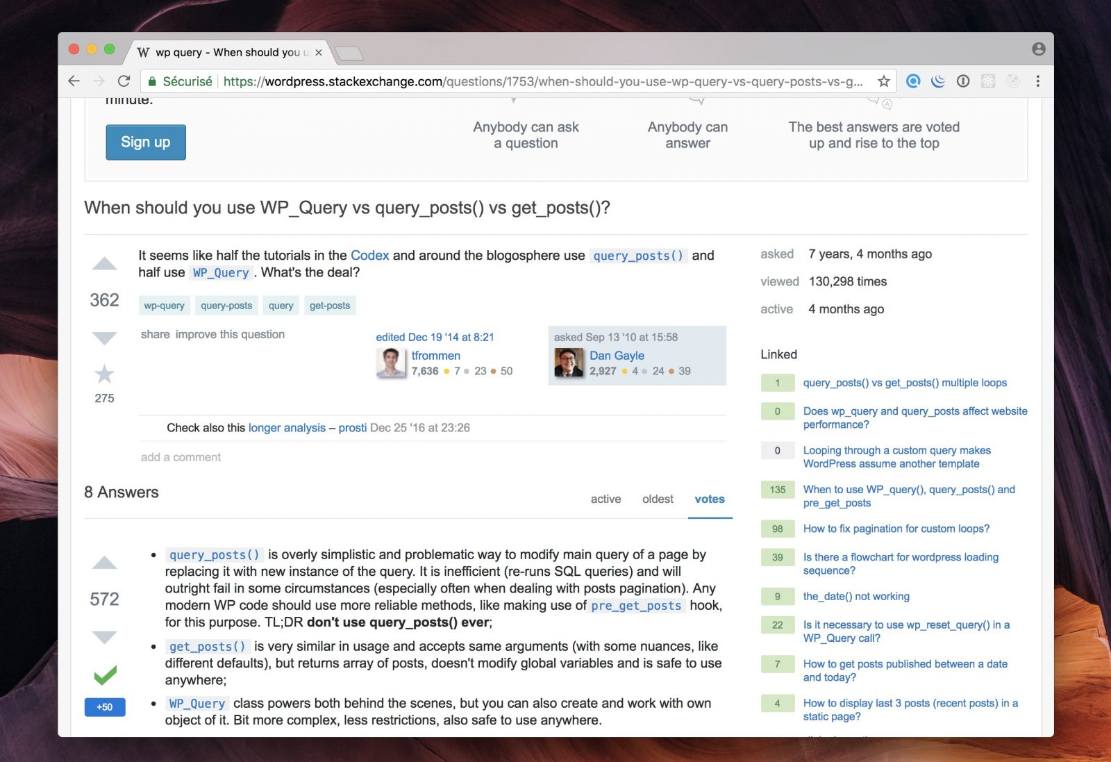Capture d'écran du site Stack Overflow