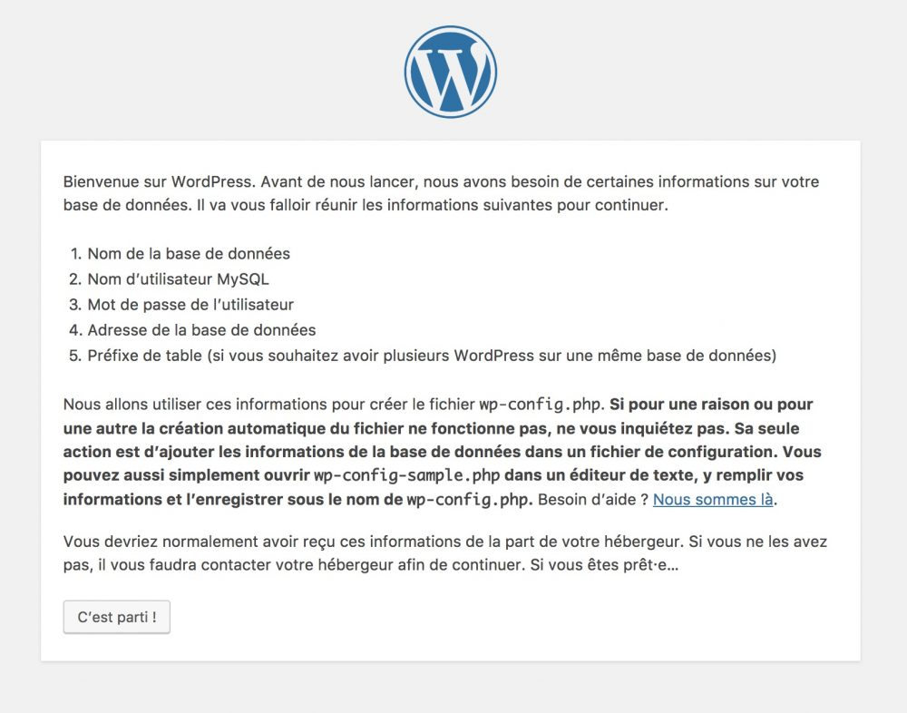 Capture d'écran de l'installation de WordPress
