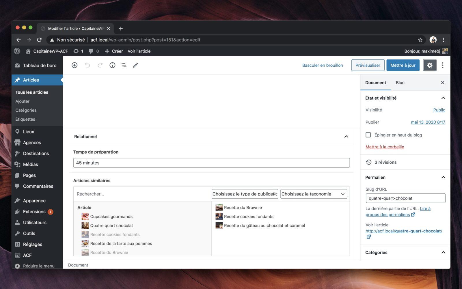 Capture d'écran de l'éditeur de WordPress, avec le champ relationnel en bas