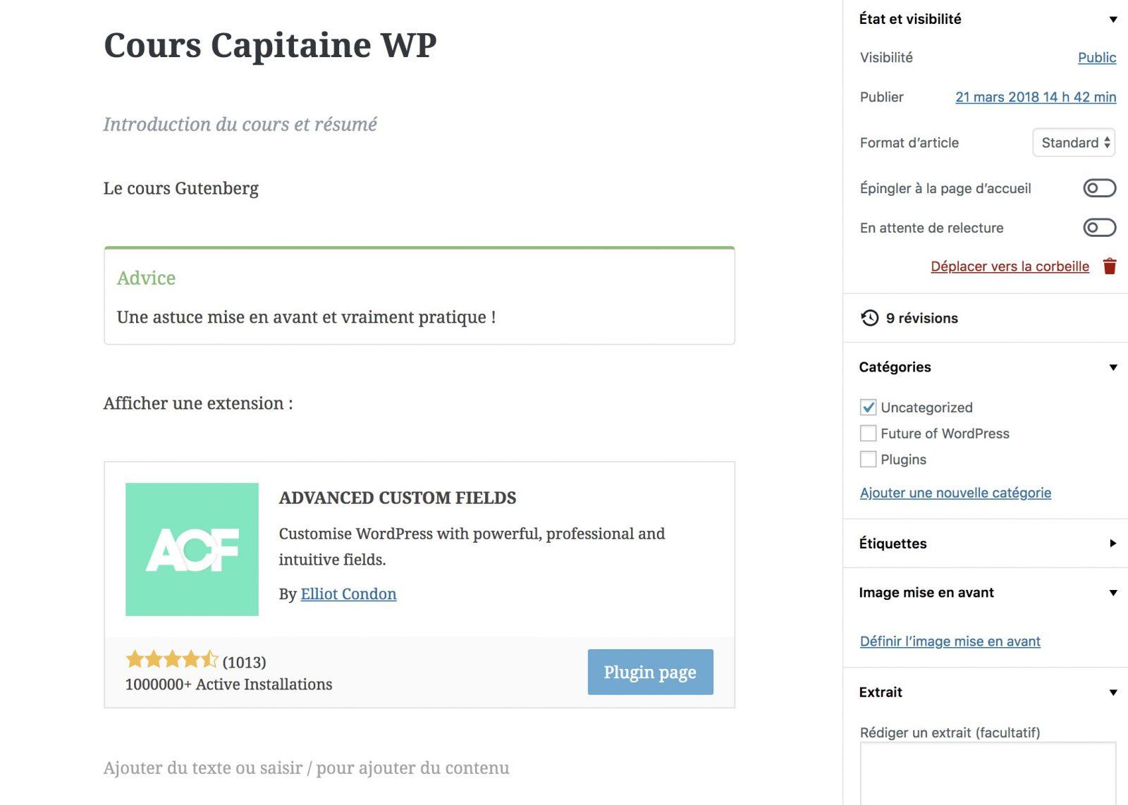 gutenberg pour les cours Capitaine WP