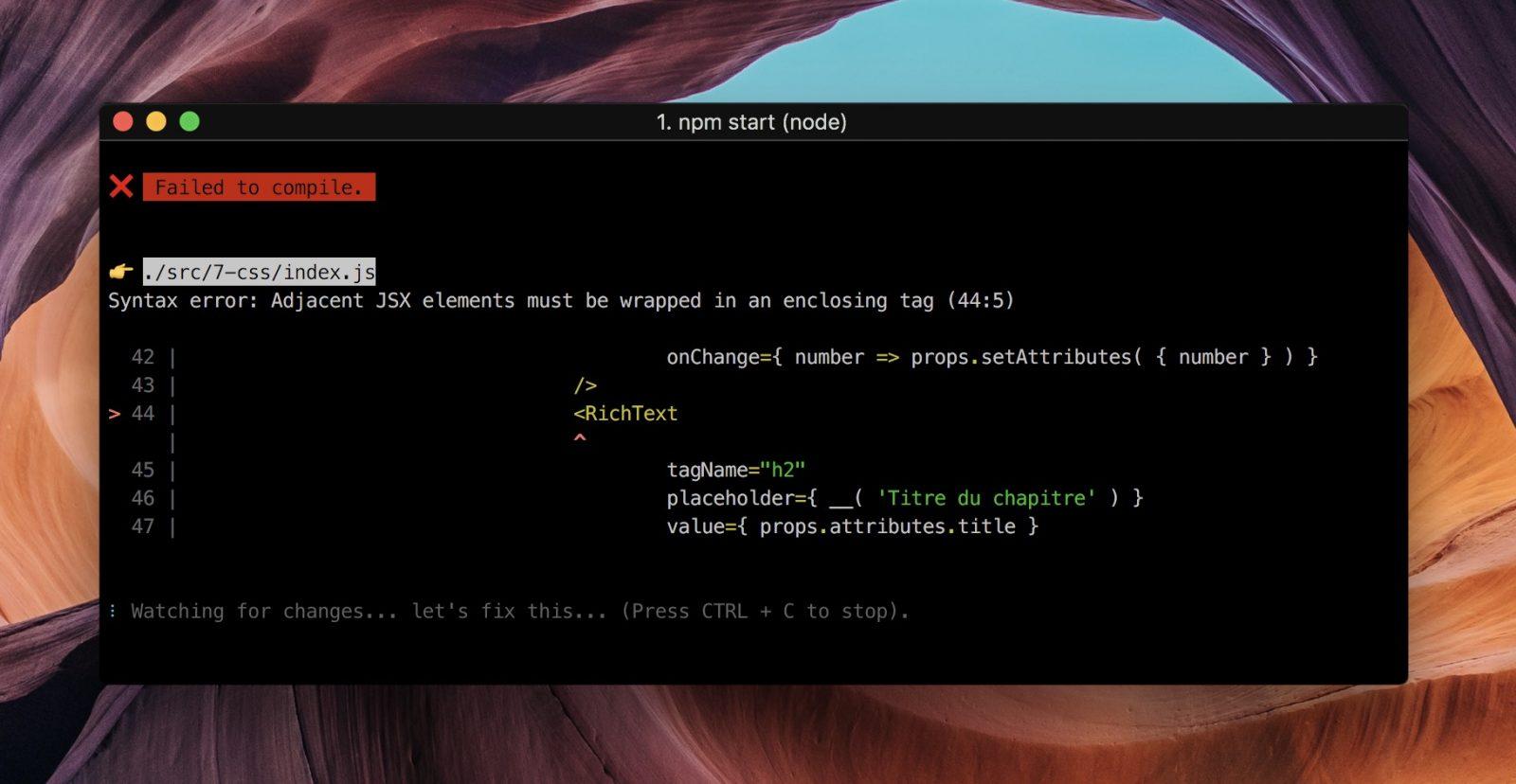 Balises adjacentes JSX non supportées dans React