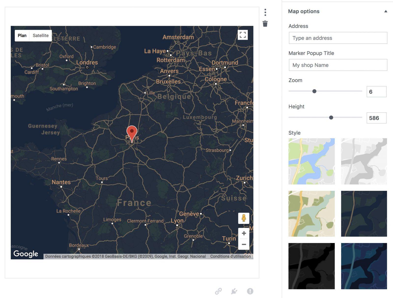 Le bloc Google Maps en action