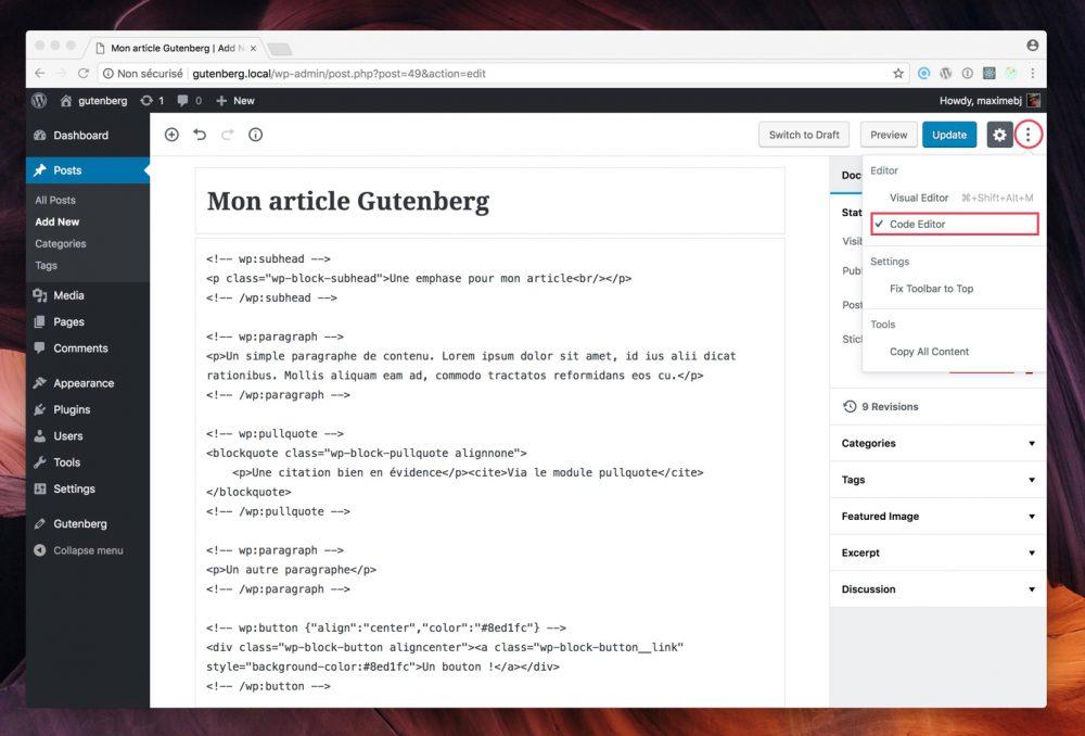 Le code source HTML généré par vos blocs