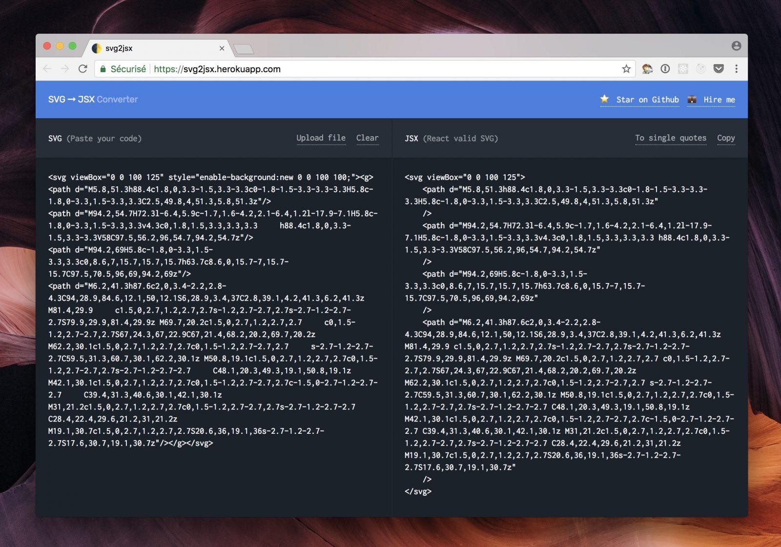 convertisseur en ligne SVG JSX