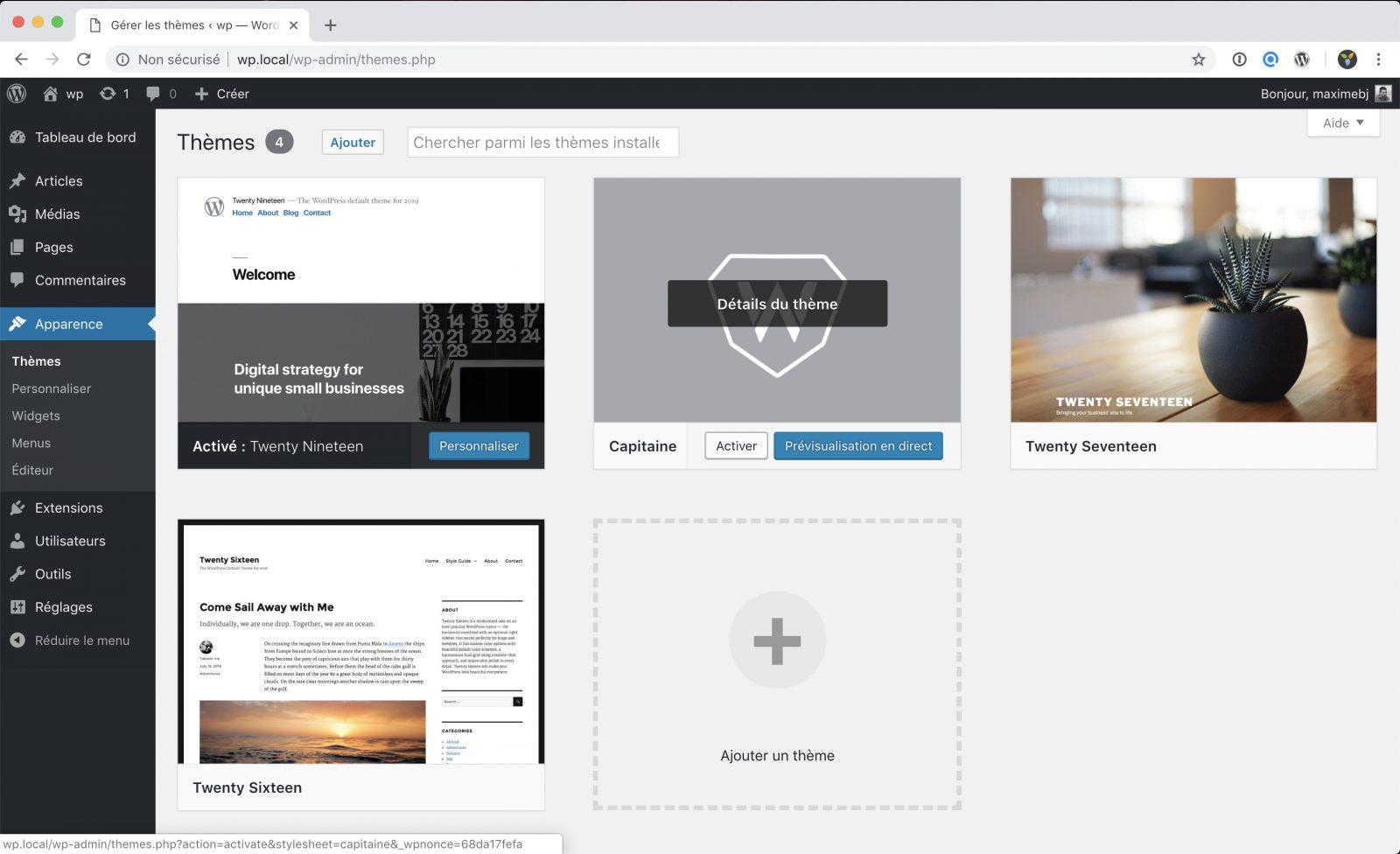Notre thème apparait dans l'interface d'administration de WordPress