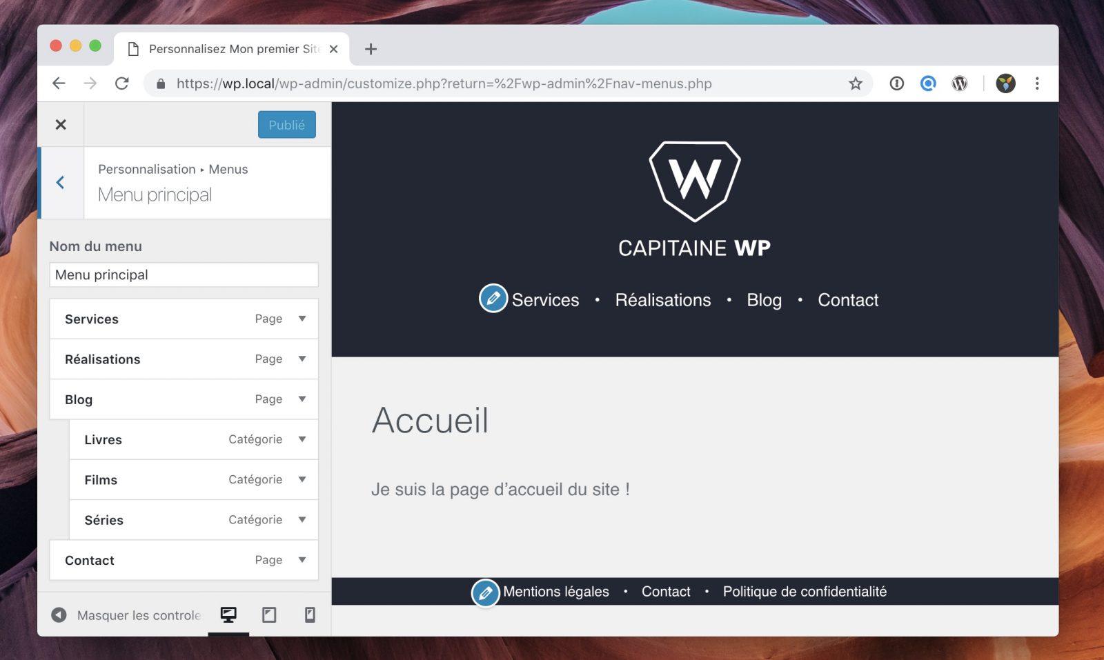 La modification des menus depuis l'interface du customizer WordPress