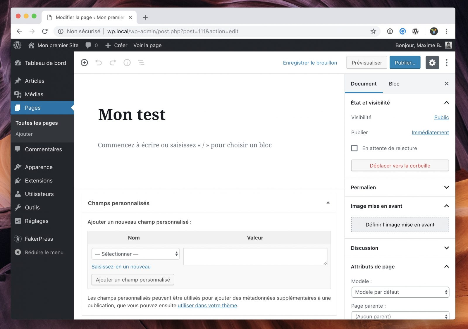L'interface de gestion des custom fields apparait en bas de l'écran