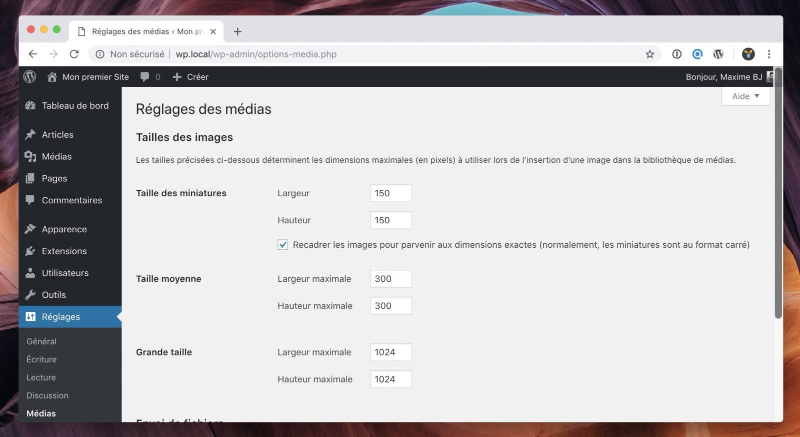 L'interface permettant de configurer les différentes tailles d'images.