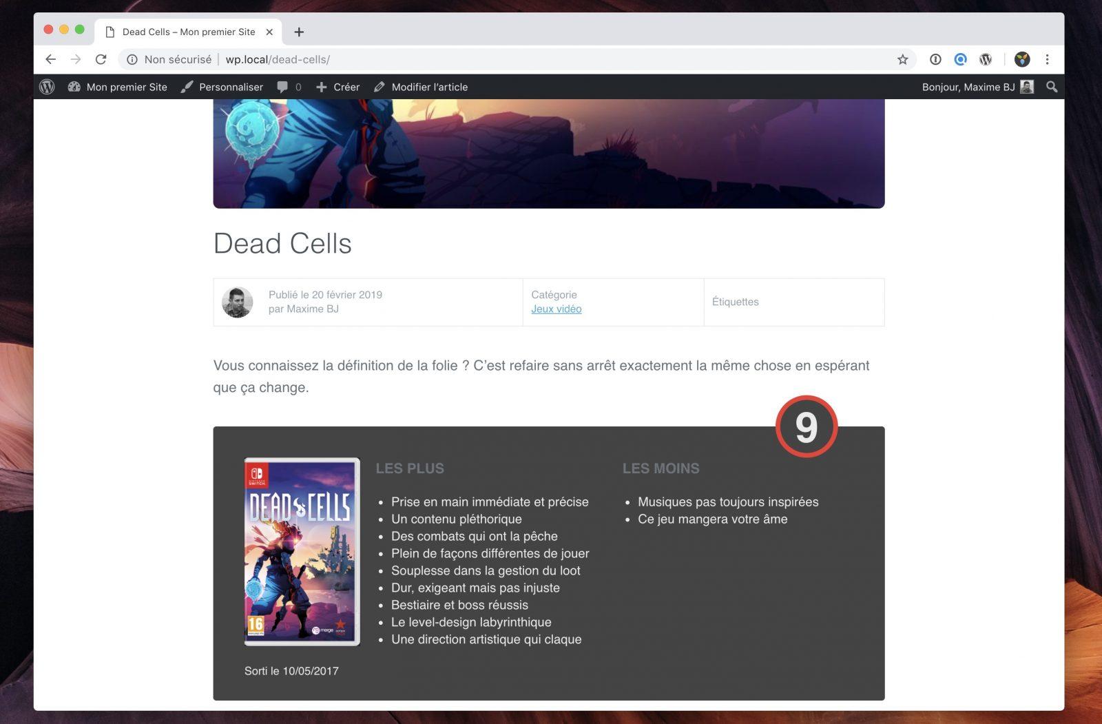 Un bloc critique permet de faire la synthèse du test d'un jeu