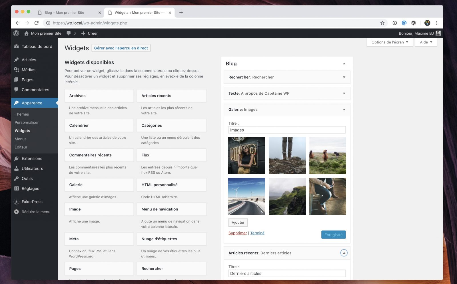 L'interface de gestion des widgets dans WordPress