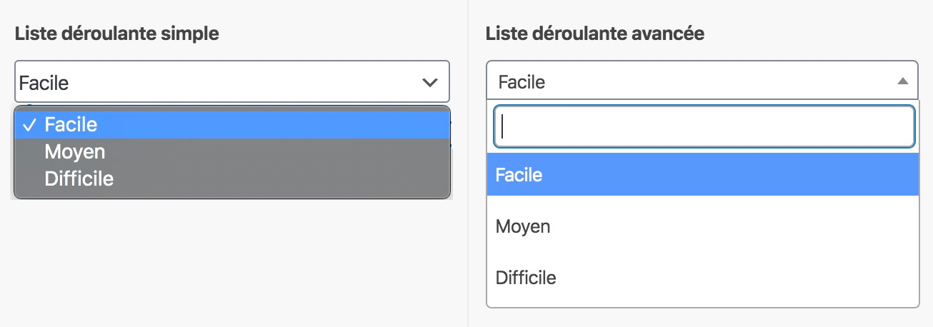Les listes déroulantes d'ACF : la simple à gauche, et l'avancée à droite