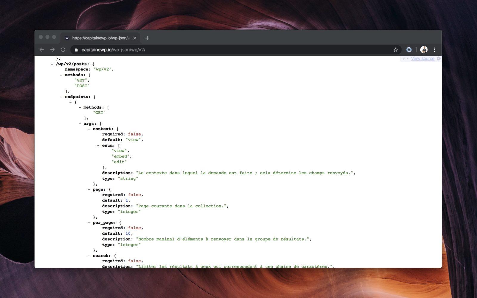 Capture du résultat de la requête API, affiché dans le navigateur sous forme de JSON