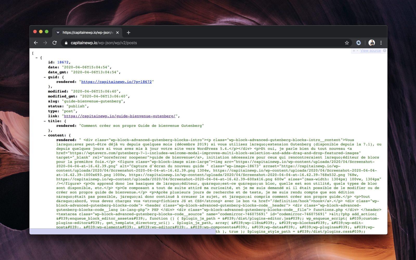 La route affiche la liste des articles, sous forme d'un objet JSON