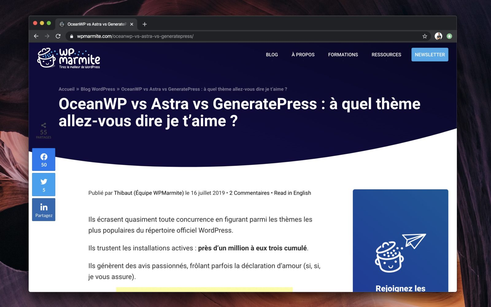 capture d'écran d'un article comparatif sur le site WP Marmite