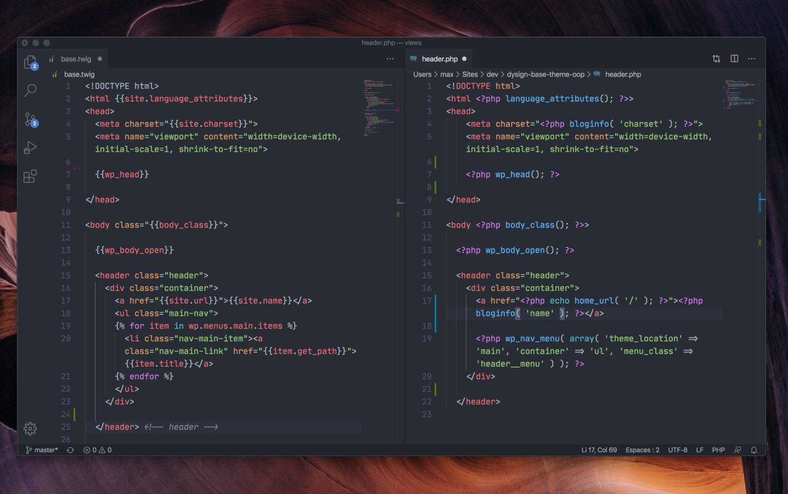Capture d'écran d'un éditeur de code montrant l'en-tête d'un site sous Twig et son équivalent PHP