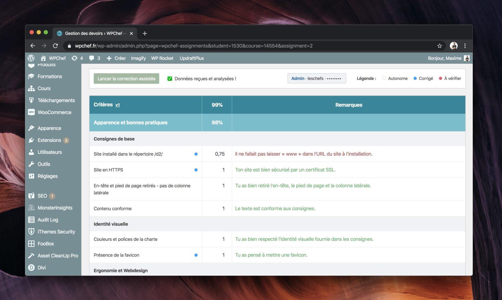 Capture d'écran du système de correction assistée par API de WPChef