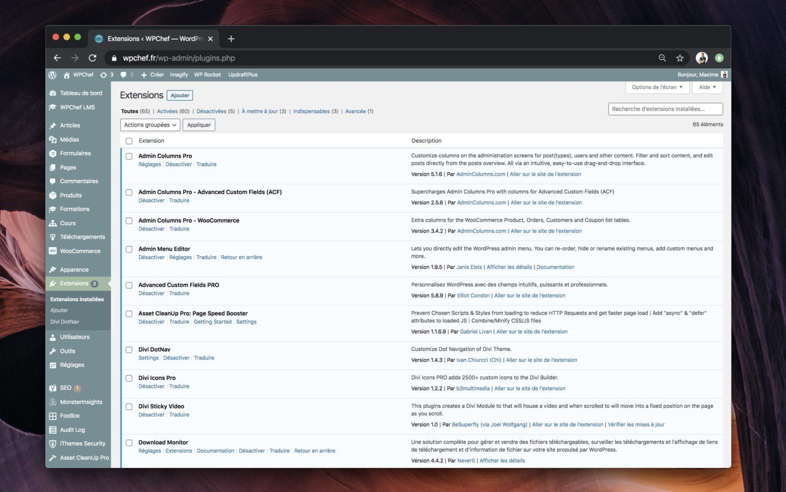 Liste des extensions installées sur un site WordPress