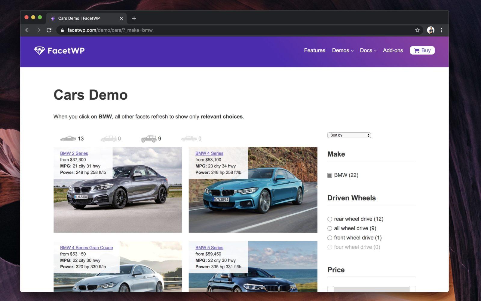 Capture d'écran du site FacetWP montrant son système de filtre de produits avancé