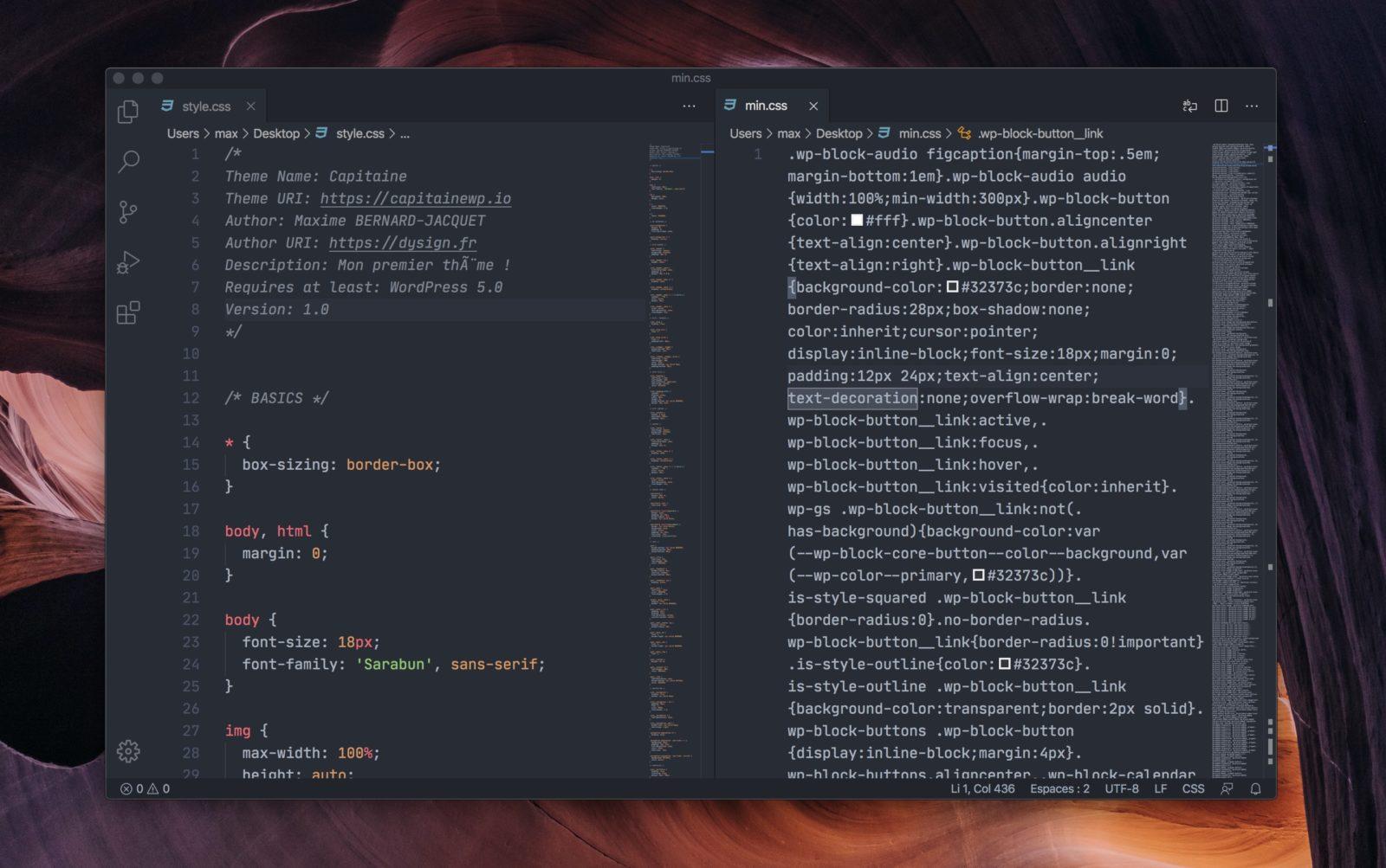 Capture d'écran du fichier CSS avant et après la minification