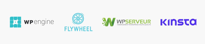 Logos d'hébergeurs spécialisés WordPress
