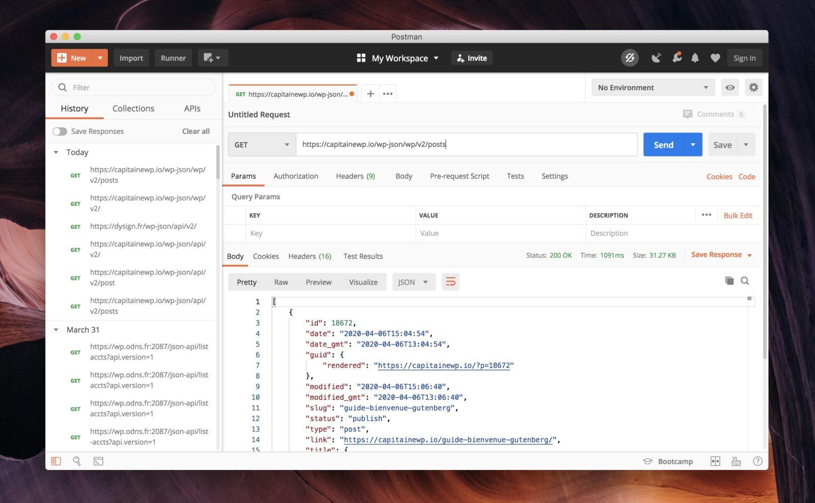 L'interface du logiciel Postman, pour gérer les API REST.