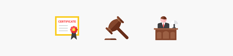 Icônes représentant l'aspect juridique