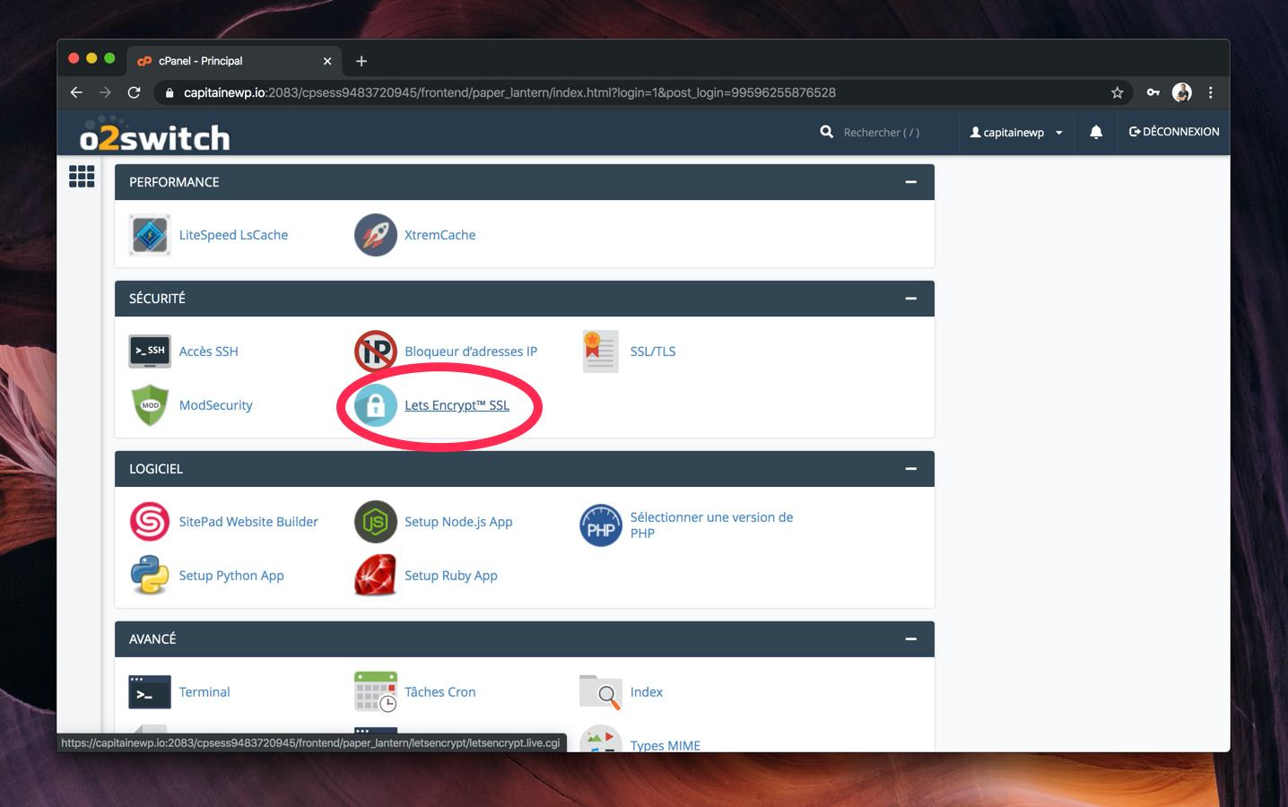 L'interface de cPanel avec l'icône de Let's Encrypt