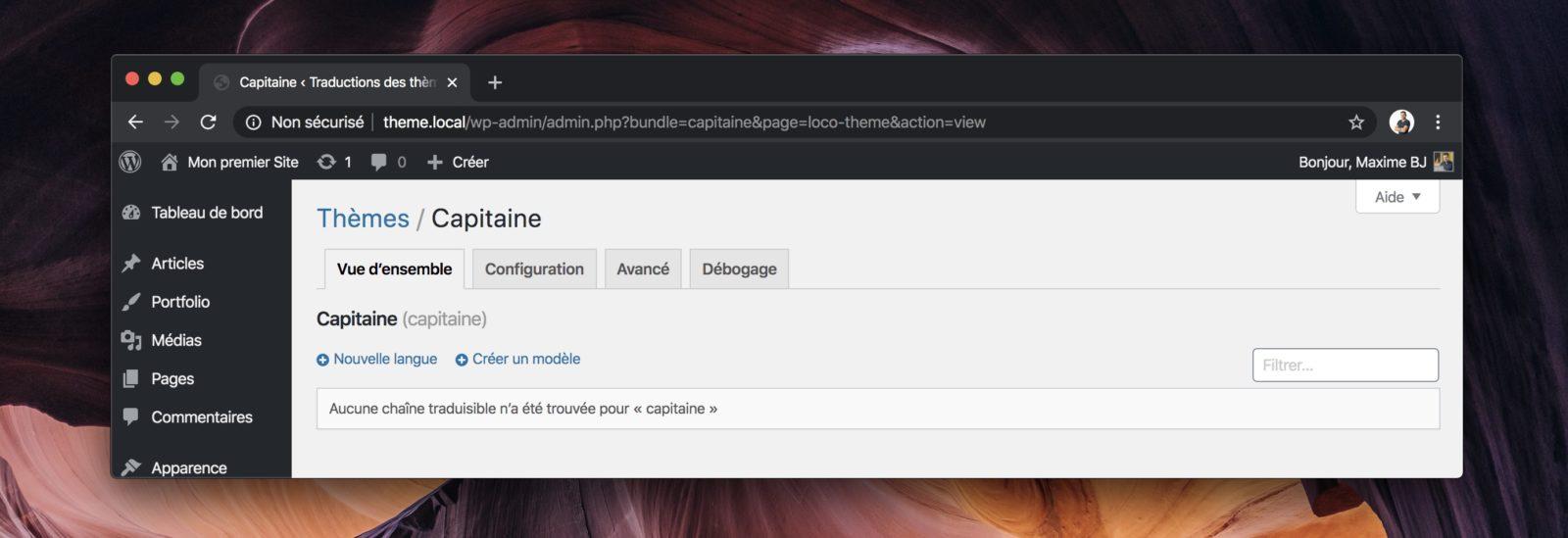 Capture d'écran de Loco Translate sur un nouveau projet