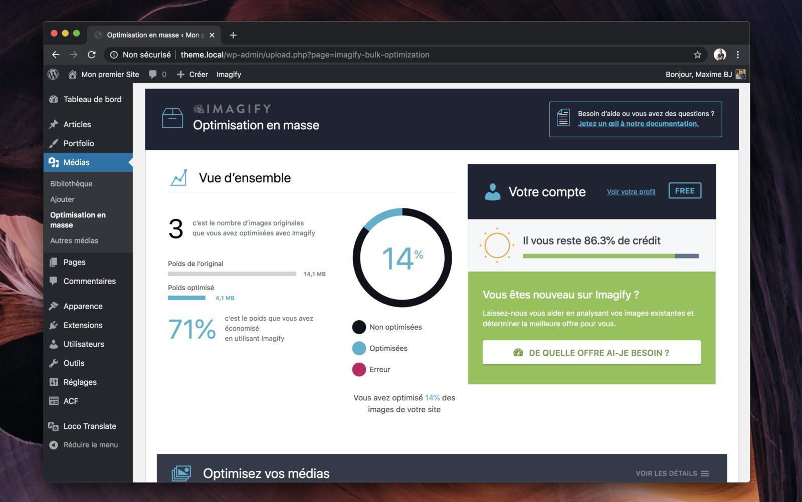Capture d'écran de l'outil d'optimisation en masse d'Imagify
