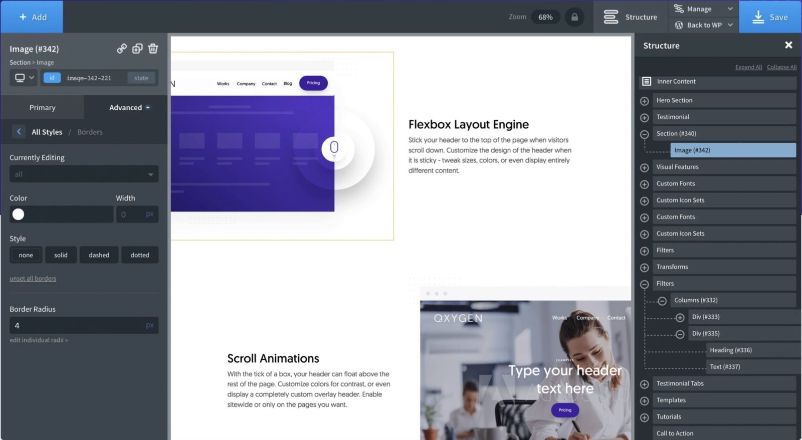 Capture d'écran de l'interface de conception de pages d'Oxygen