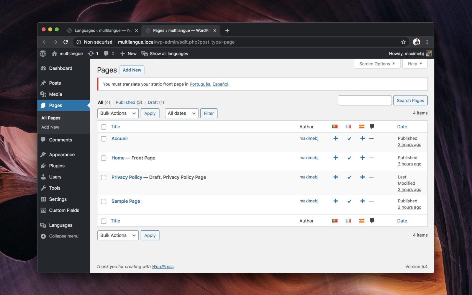 Capture d'écran de l'interface d'administration de WordPress, montrant les ajouts de Polylang