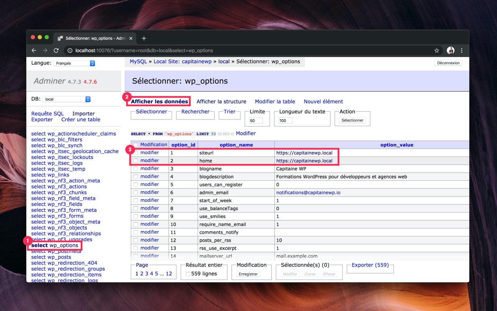 L'interface d'affichage des données d'Adminer