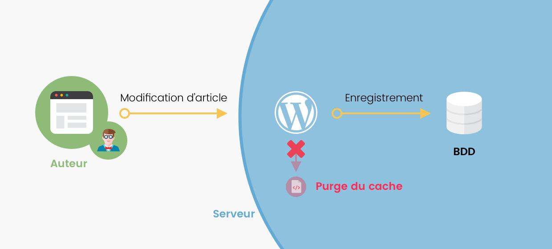 Schéma client - serveur : WordPress supprime la page en cache lorsque l'auteur enregistre les modifications