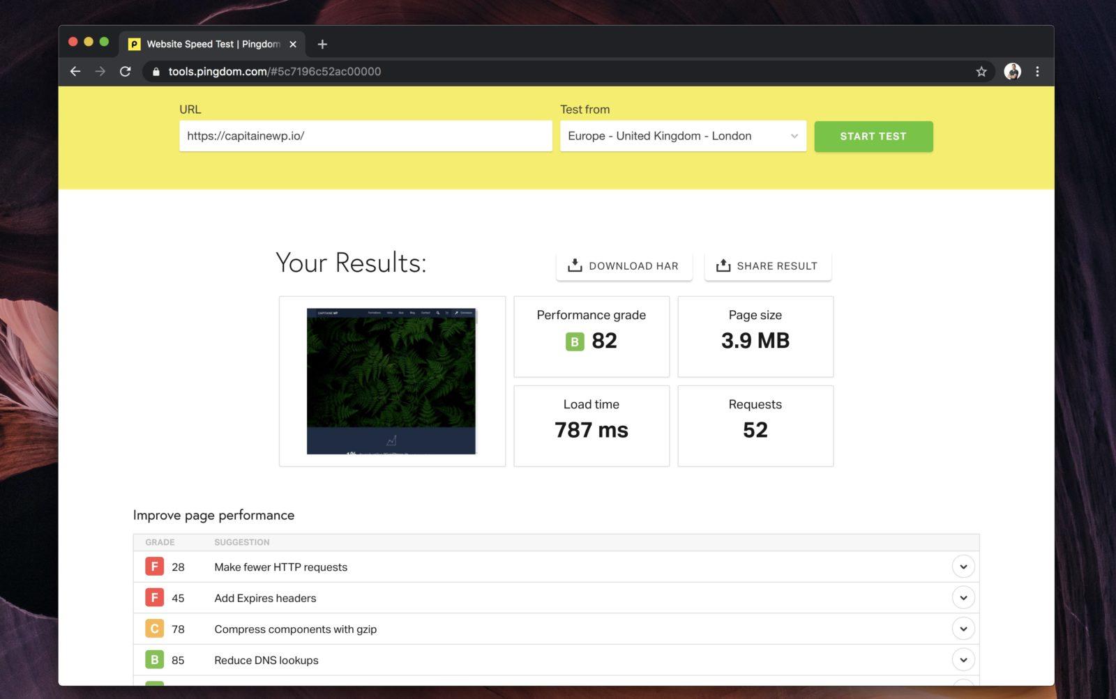 Capture d'écran du panneau de résultats de Pingdom Tools après l'analyse d'un site