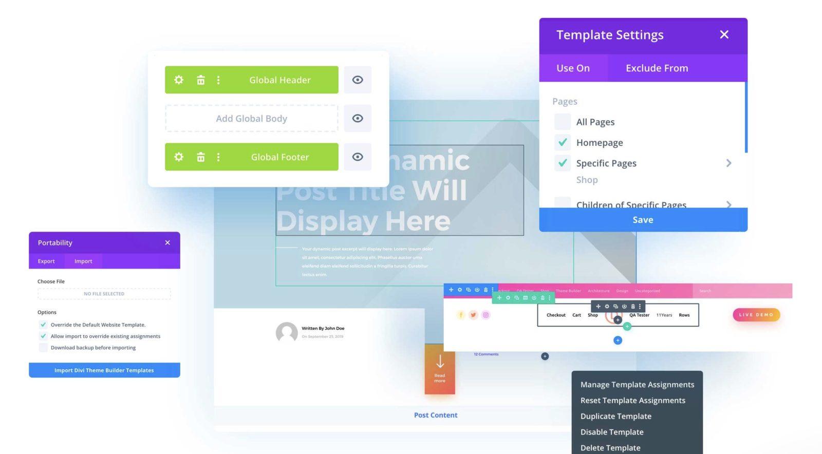 L'interface du theme builder de Divi