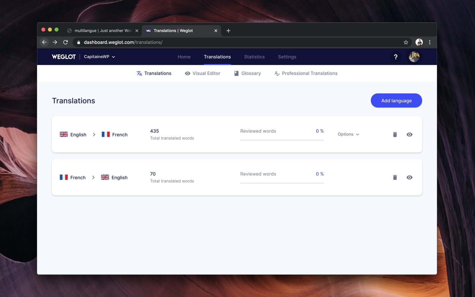 Capture d'écran de l'interface des langues de Weglot