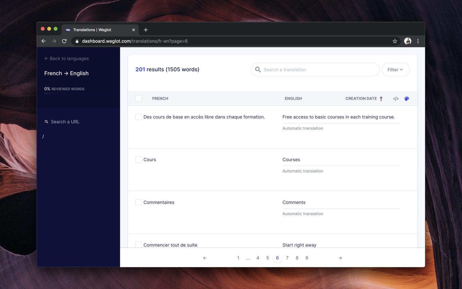 Capture d'écran de l'interface de traduction de chaines de Weglot