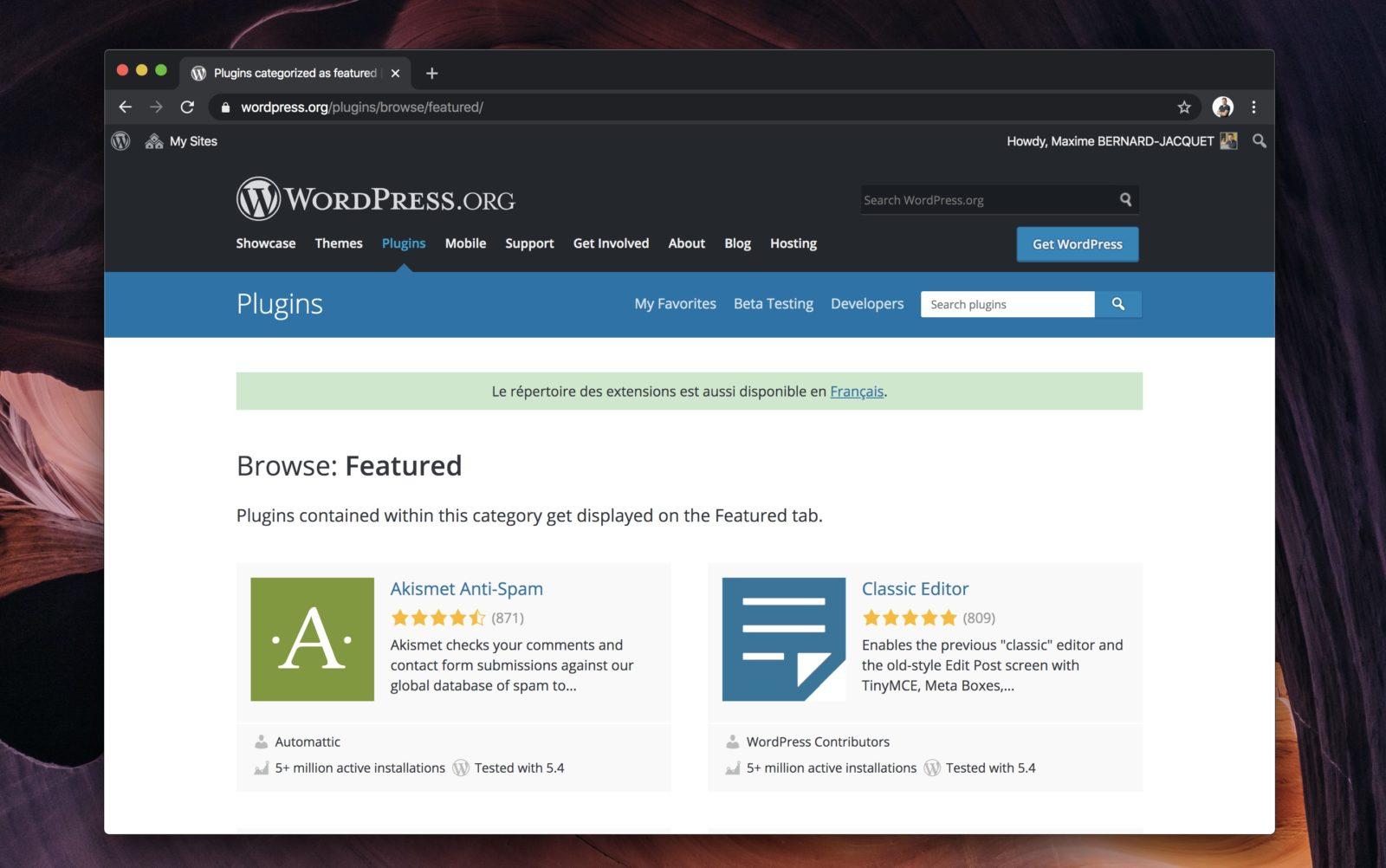 Capture d'écran du site wordpress.org, montrant une sélection d'extensions