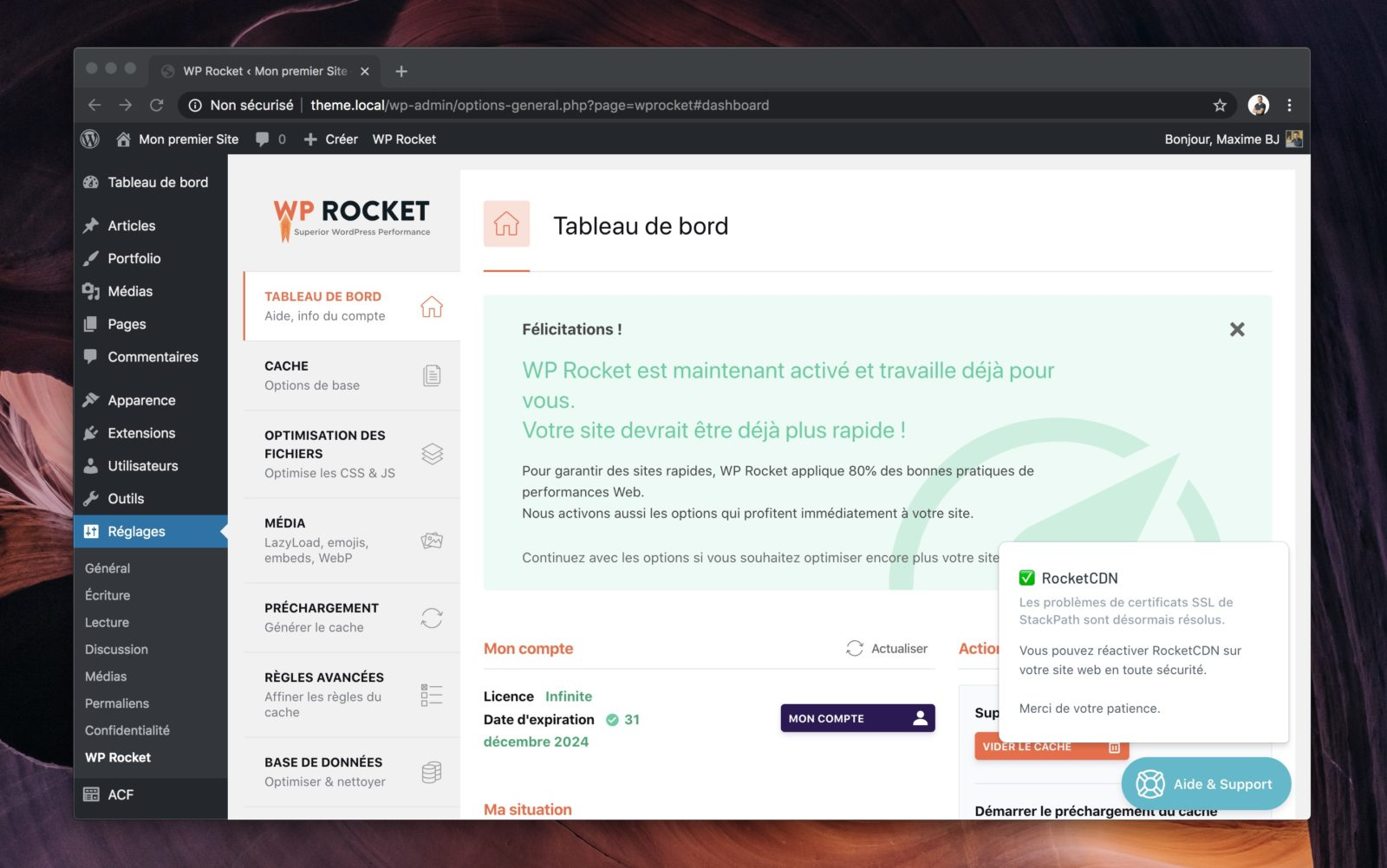 Capture d'écran du panneau de réglages de WP Rocket