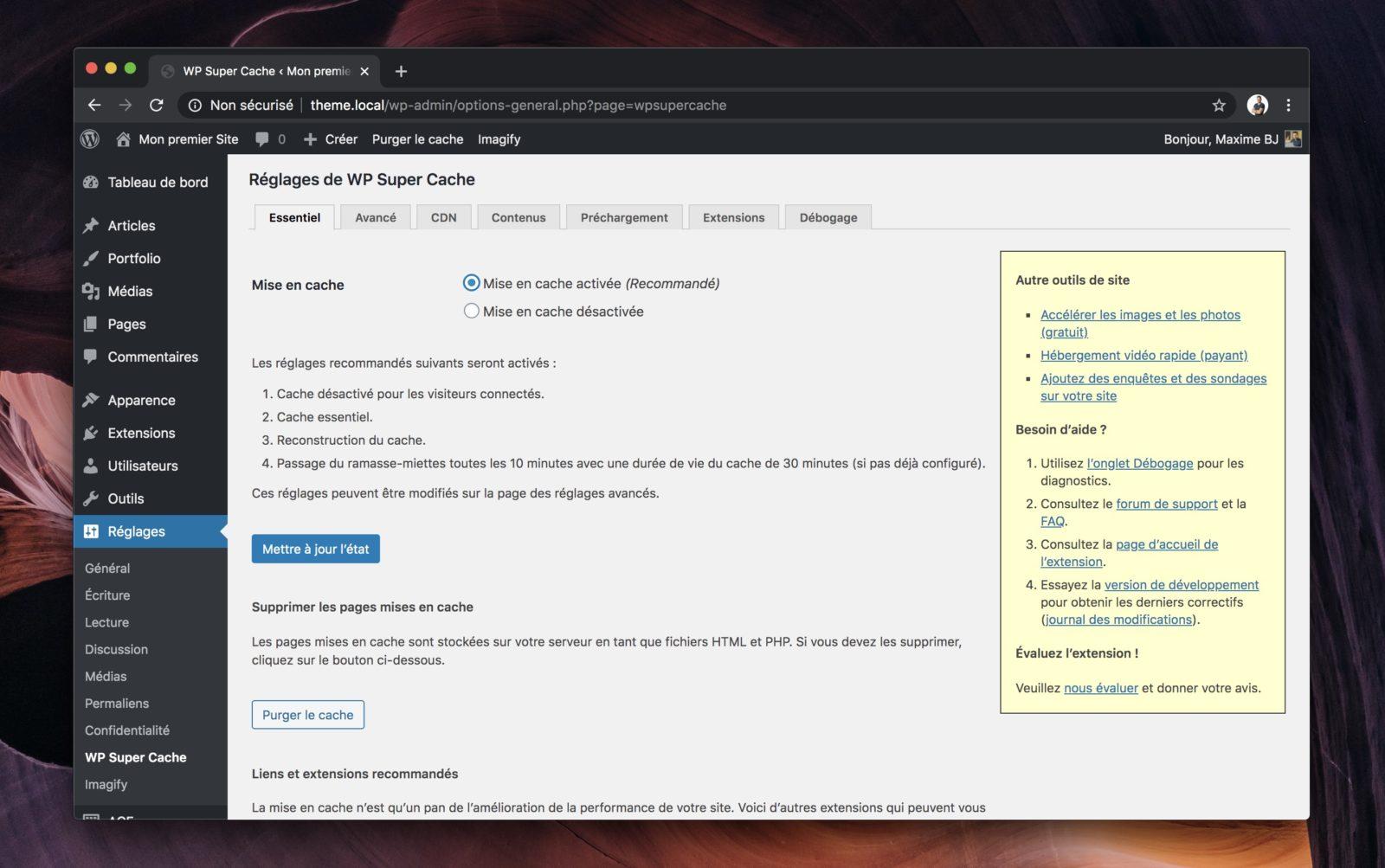 Capture d'écran de la page de configuration de WP Super Cache