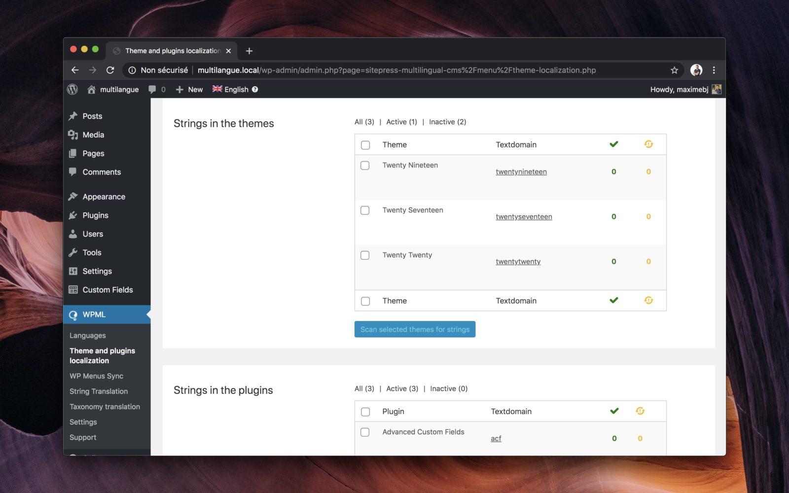 Capture d'écran de l'interface de traduction de chaines de WPML