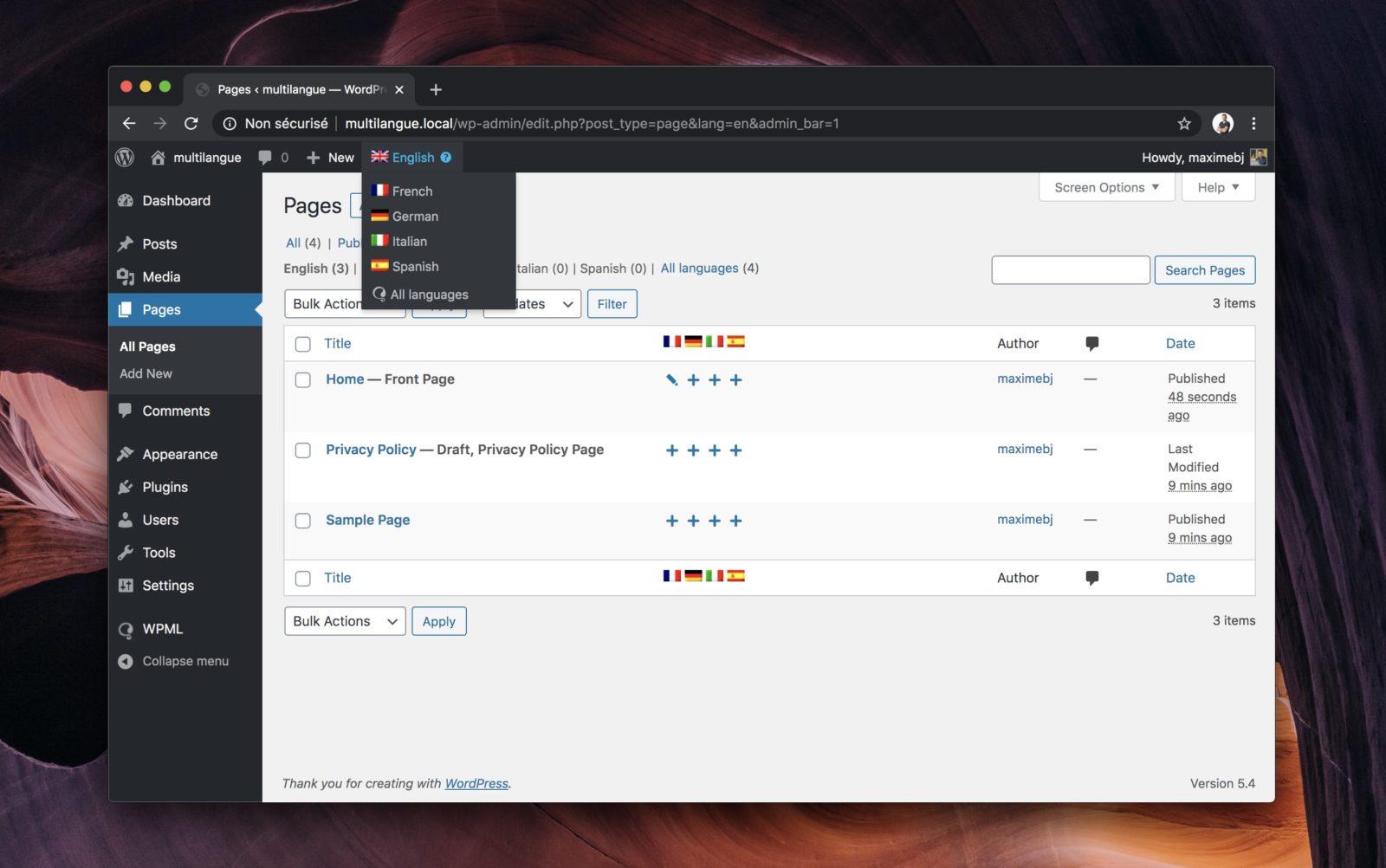 Capture d'écran de l'interface de WPML intégrée à WordPress. Ici la liste des pages