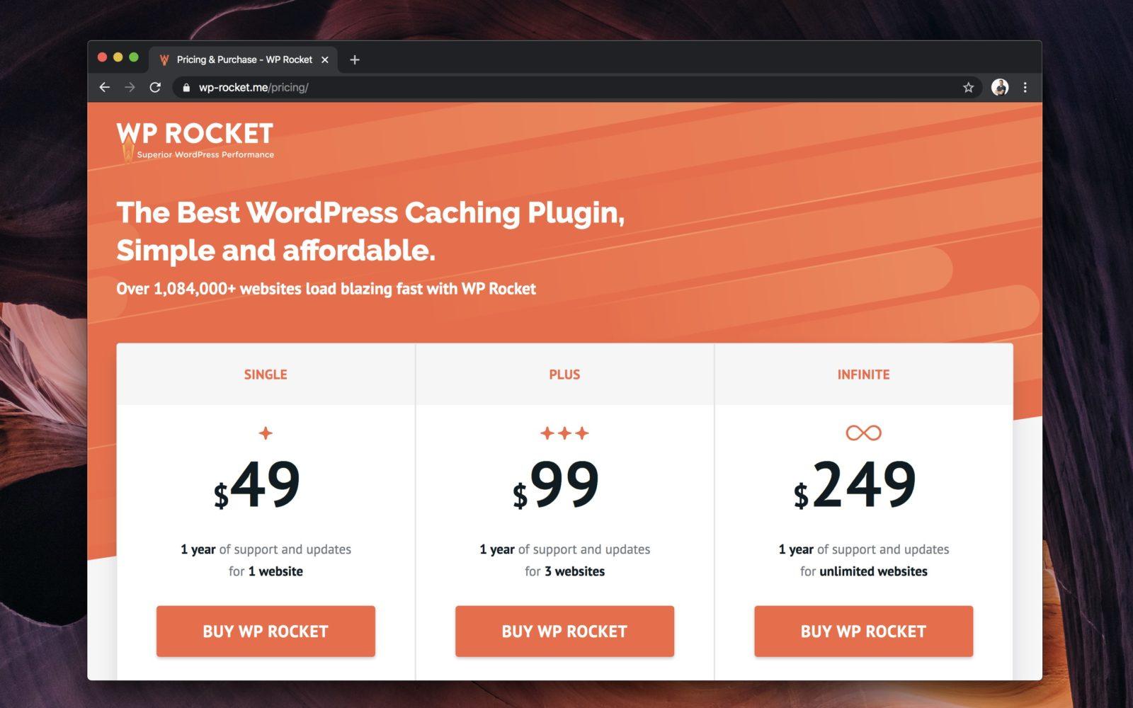 Capture d'écran du site officiel WP Rocket, sur la page des tarifs