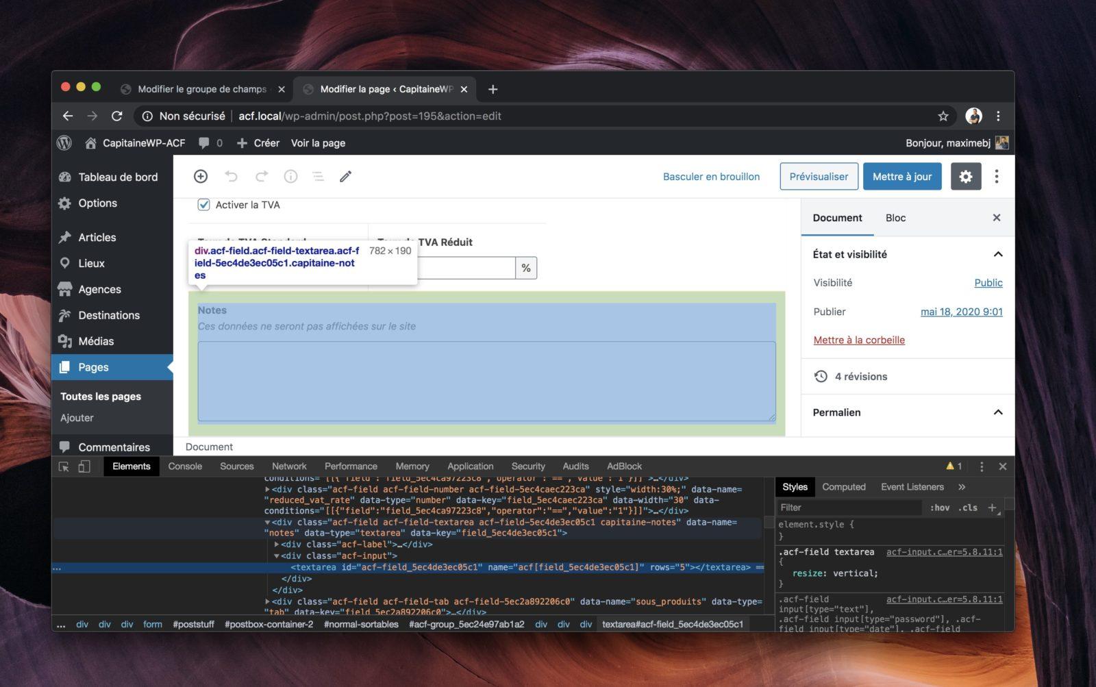 Capture d'écran du navigateur avec la console ouverte, montrant la structure HTML des champs ACF